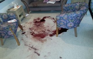 Trauma Cleaner Blood Cleaning Process in a living room Australia